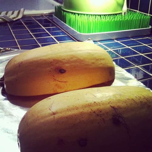 "Attempting ""spaghetti"" made from spaghetti squash. Wish me luck. #paleo"