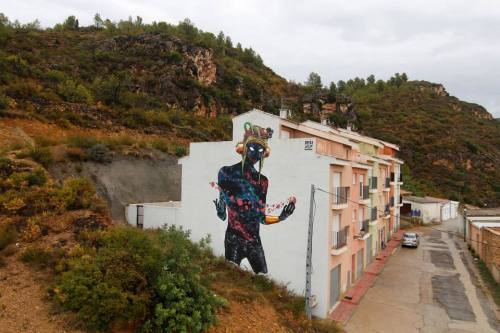 """rfmmsd:  Artists: DEIH """"The Visitor""""  """"THE VISITOR""""  """"MIAU FESTIVAL (FANZARA)It´s painted in FANZARA a small town near of Castellón, Spain.I was invited to paint there by MIAU festival( Museo Inacabado de Arte Urbano) (in english: Unfinished Urban Art Museum).HERE YOU CAN SEE ALL ABOUT FESTIVAL:https://www.facebook.com/pages/MIAU-Fanzara/272752819594609?fref=ts   ask-starbaby whaaaaa! XD this is cool!"""