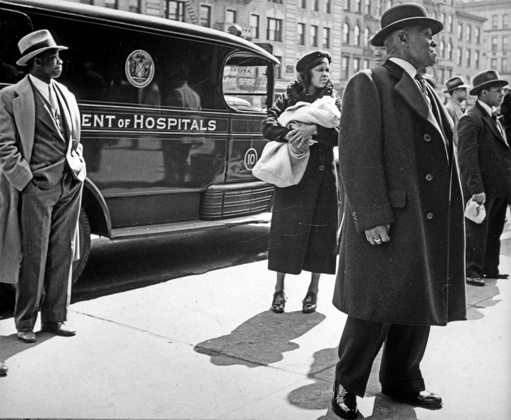 bygoneamericana:  Group in front of ambulance. New York, circa 1935. By Lucy Ashjian