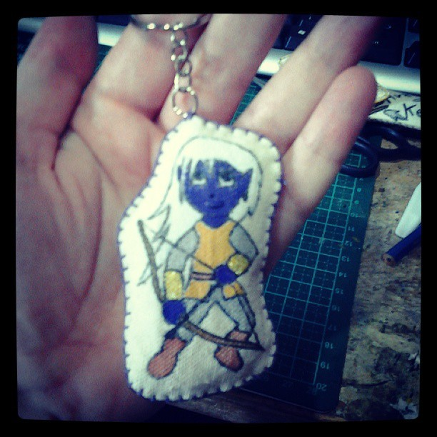 godsinmyroomarchive:  #dark #elf #keyring #craft #toyart. Character that I created for my comics