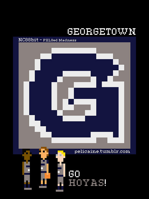 nc88bit:  GEORGETOWN on Flickr. Georgetown. Go Hoyas!  Just one of my 90 logo recreations from my NC88Bit - PXL8ed Madness series.