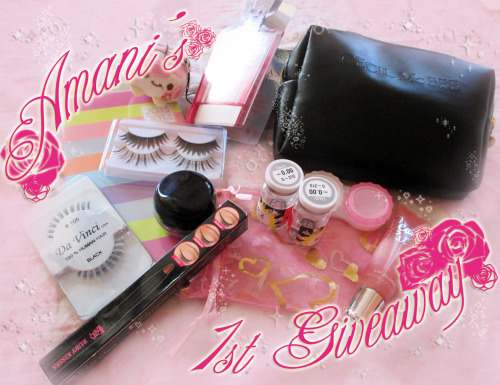 "amaninyc:  Aww yiss, it's dat giveaway time ~So as thanks for all the blog, tumblr and youtube followers I have gotten (not too many, but I still appreciate ya'll!), and blog views, I'm giving away this little bundle of goodies = u=  One winner will win all dis:1) A Cecil McBee pouch2) EOS G-210, a.k.a. Extragavanza lenses in grey (plano)+ lens case to go with it3) Ruby Kisses HD Gel Eyeliner (It's my favorite brand eyeliner that I use all the time in my recent eyemake looks c:)+ matching liner brush4) 1 pair of AGEHA brand ""Dolly"" top lash5) 1 pair of generic top lash (bought from Taobao)6) 1 pair of Da Vinci #105 bottom lashes7) Victoria's Secret Beauty Rush lipgloss in ""Strawberry Fizz""  8)Victoria's Secret Angel fragrance sample 9) a 2013-2014 calendar book 10) a really cute phone charm  (If it's an actual character, let me know who it is~) Follow the instructions on my blog page here~ http://amaninyc.blogspot.com/2013/05/my-first-giveaway.html& make sure you follow the MANDATORY instructions before anything! Or else your entry don't count D;After that you can 'Reblog' this once each day for chances to win~   It ends MAY 30TH, GOODLUCK!  9 more days!* mathfail"