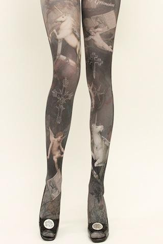 dollymacabre:  I am pretty much dying over the new Grimoire Verum tights, but this print has both unicorns AND crosses, so therefore I am extra dying.