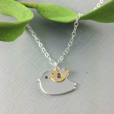 """Mama Bird, Baby Bird"" Necklace by anatoliantaledesign"