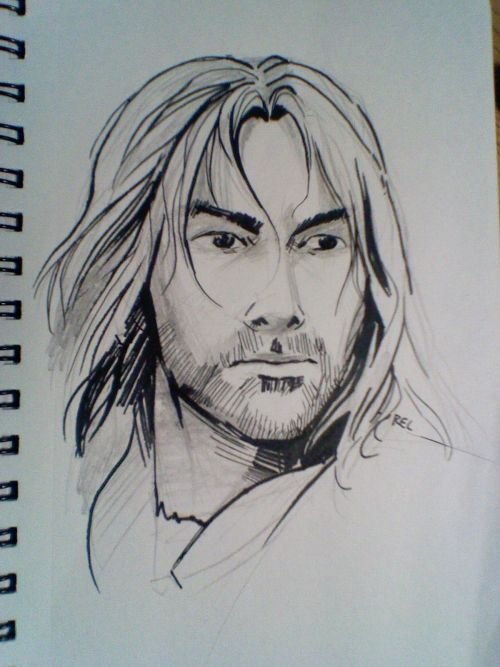 "Kili the dwarf looking heroically into middle-distance, drawn for my lovely sister. I haven't seen or read the Hobbit, but she identified him as ""the sexy one"". I'm not sure how I feel about this. I guess in theory dwarves can be sexy, but…you know, they're awfully hairy."