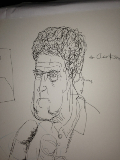 For some reason I was watching top gear. Clarkson is looking increasingly grotesque, and the show is getting increasingly self indulgent and smug. Take this clarkson, look I dun a stupid drawing of you. BOOM. Wouldn't want to be him right now.