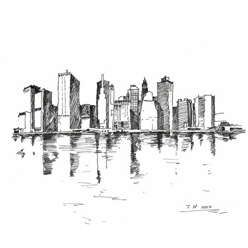 Marker Portraits (New York City Skyline) - 8 in x10 in   (clipped to polyvore.com)