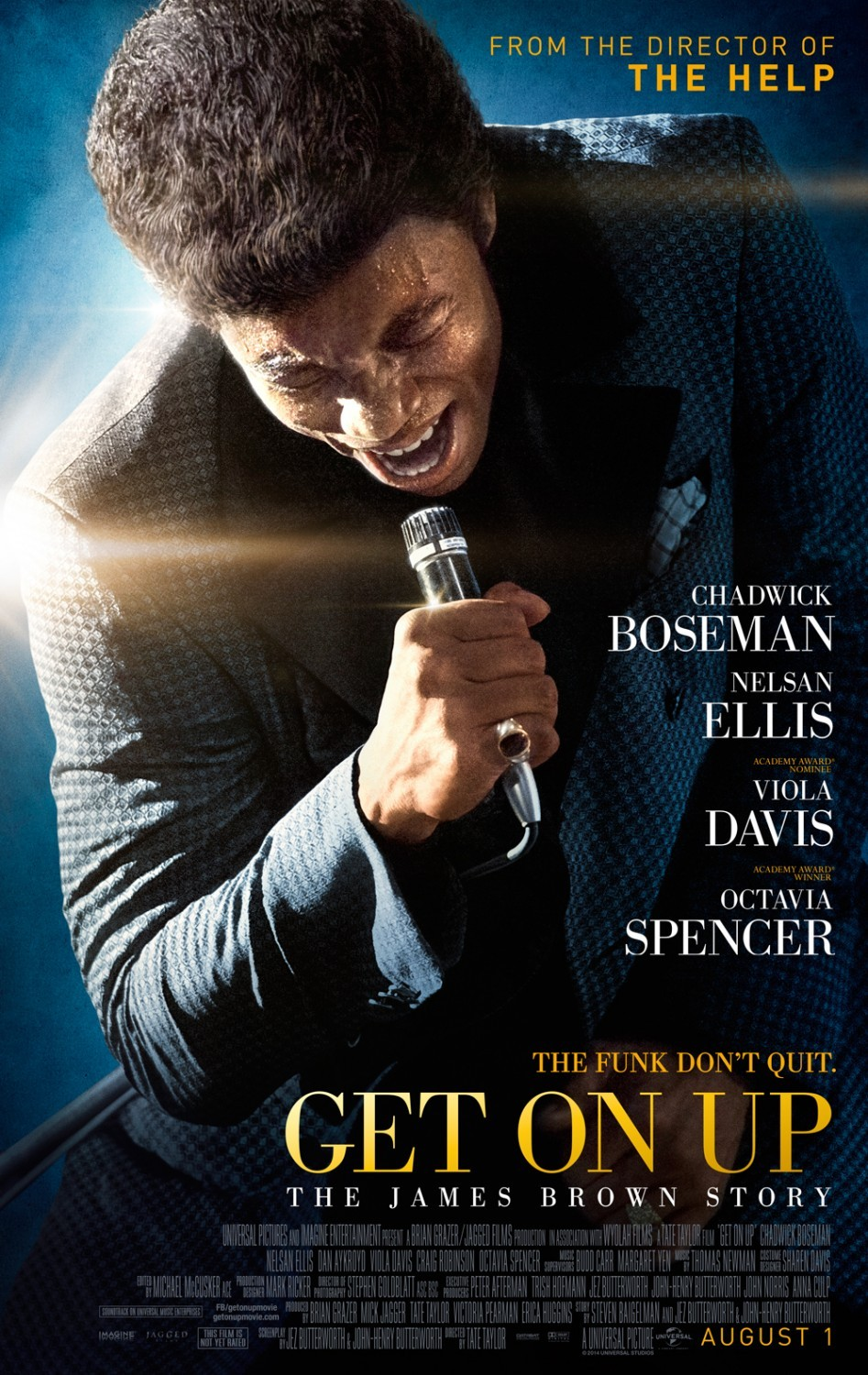 """Get On Up (2014)  A chronicle of James Brown'srise from extreme poverty to become one of the most influential musicians in history.  I absolutely LOVED this film. Why don't they make goodmusic like this anymore? I love funk and soul and James Brown was the man. It was entertaining to see most of the cast of 'The Help' in the movie :) I also think that Chadwick Boseman is absolutely dashing. He has such a beautiful smile and quite a screen presence. He also really impressed me '42'. Last week I read an article, can't remember where, about finding the """"next Denzel Washington"""". Well Hollywood, your next Denzel Washington is right here in Chadwick Boseman. He is very talented and I hope he gets an Oscar nomination/win for this. Do check it out!"""