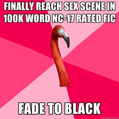 [FINALLY REACH SEX SCENE IN 100K WORD NC-17 RATED FIC (Fanfic Flamingo) FADE TO BLACK]