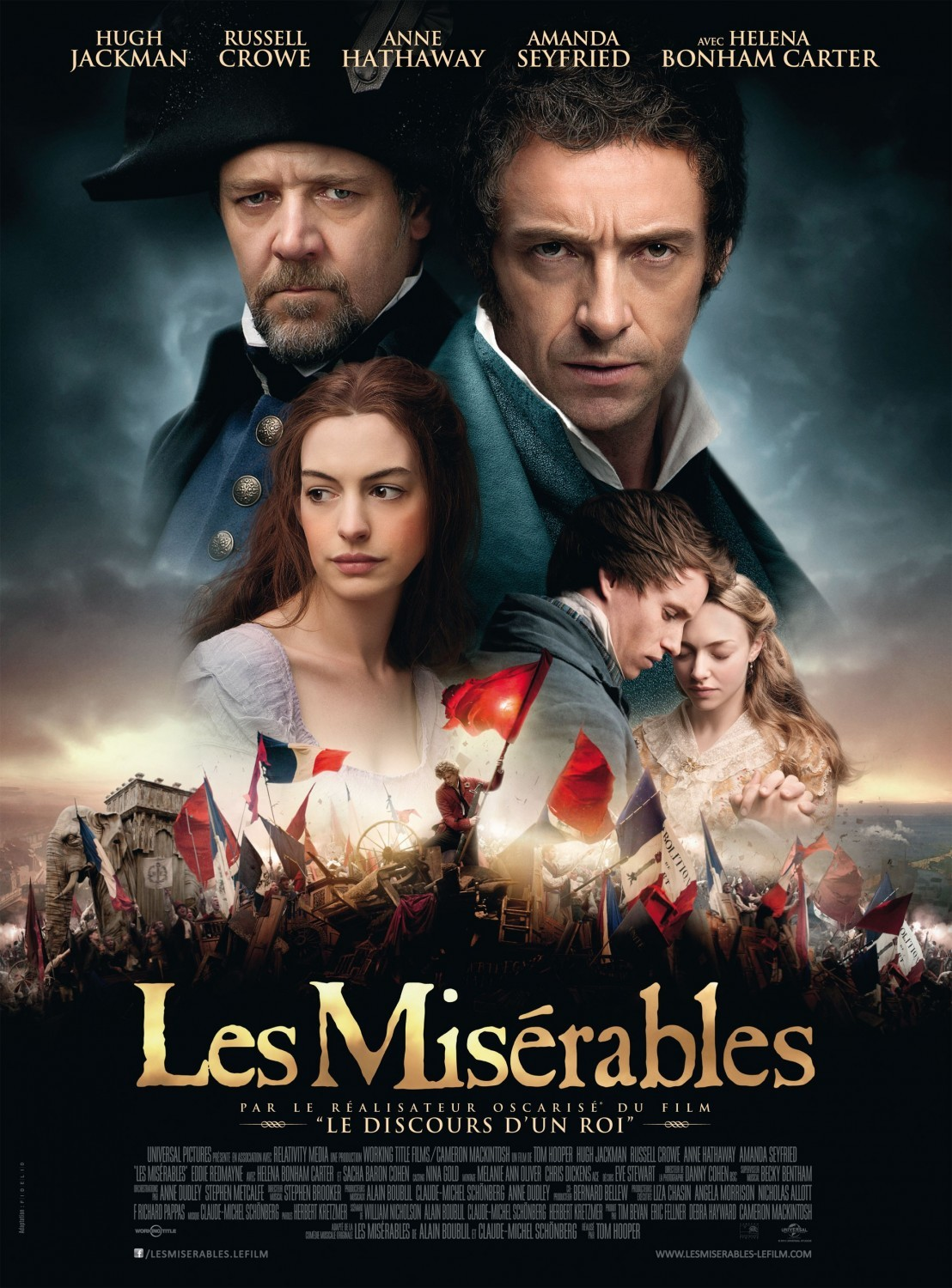 Les Miserables This was great! They brought you right into the story. The performances were great. I was kinda surprised by how much I liked Amanda Seyfried in this. Her particular trill in her singing voice worked well for this character. And then I got into Eponine, and this whole love triangle thing. Then everyone died pretty much, but it was a great ending.