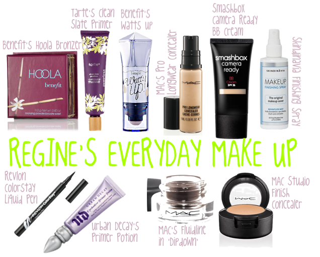 Here are all the products I use on a everyday basis, face products are on the top, and eyes/brow are on the bottom! Primer: Tarte's Clean Slate Primer, I LOVE this primer!! i'll review soon. Foundation/BB Cream: Smashbox's Camera Ready BB Cream. I like this BB Cream…I don't LOVE it. I'm still on the hunt for my holy grail foundation, I'll be switching it up next month. Concealer: MAC's Pro Longwear concealer…I use this for my acne scars and redness around my nose. I love this stuff cause one little bottle will last forever and it doesn't crease and it feels super lightweight!  Contour: Benefit's Hoola Bronzer…i've been using this thing for like 3 years and I probably will still get another year out of it. Hoola is infamous for it's matte finish and is super popular on youtube. Don't let the price scare you, it'll last you foreeeever. Highlight: Benefit's Watts Up. I LOVE this highlight! it's so pretty and gives you a healthy glow. I use it on my cheek bones, near my temples, and down the bridge of the nose. I use my ring finger to put it on btw. And just like Hoola this stick will last a long time!  Finishing Spray: Skindinavia Finishing Spray…review later!! Eyeliner: Revlon Colorstay Liquid Pen, hands down my favorite eyeliner! I did a review on this already so I won't say much Eyeliner primer: my lids get oily as the day go on which causes my eyeliner to move not matter what I use. It's a small step that I don't mind doing! Urban Decay's primer potion does a great job, and i've been using the same tube for a couple of years too. i've tried ELF's primer but it didn't work for me Concealer for brows: MAC's Studio Finish concealer. I use this underneath the brow and sometimes on the top of the brow. Cleaning up the shape of your brows makes the biggest difference. This thing was my best friend when I didn't get my brows done for a month Brow filler: MAC's Fluidline in Dipdown. It took me a while to get used to using a gel/cream type product on brows but I'm finally getting the hang of it…and I have to say I really like how it makes my brows look. i'm still not perfect but i'm working on it! I do use a finishing powder, but I'm still figuring out which is my favorite….i'll update this collage when I figure it out.