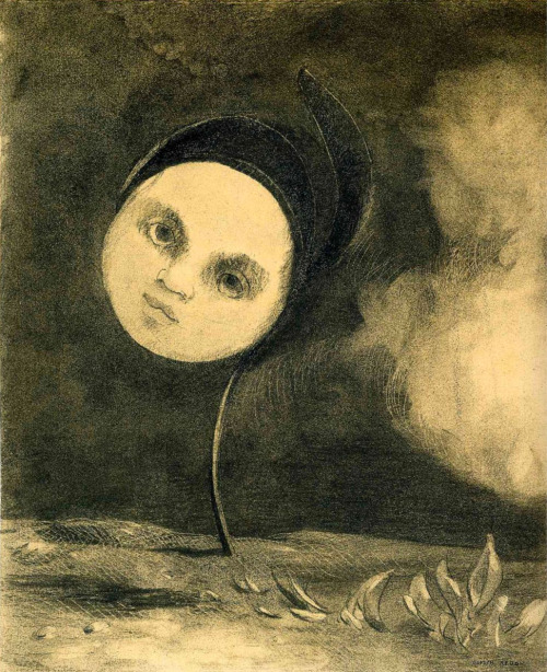 Head on a Stem, Odilon Redon (post 1916), charcoal on paper.