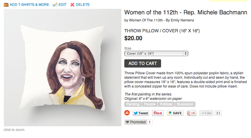 Throw pillows! Snuggle up with the Senate! Fill your house with the House!  This first one, featuring my watercolor portrait of Rep. Michele Bachmann is kind of creepy, kind of wonderful, and likely the strangest thing I've ever made. I'll be adding more posters and pillows soon.