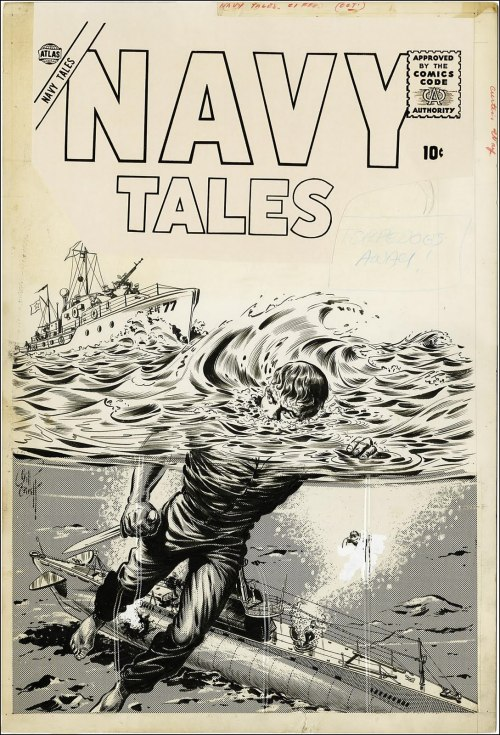 wonderful-strange:  Original art for Navy Tales #1 by Bill Everett, 1957.
