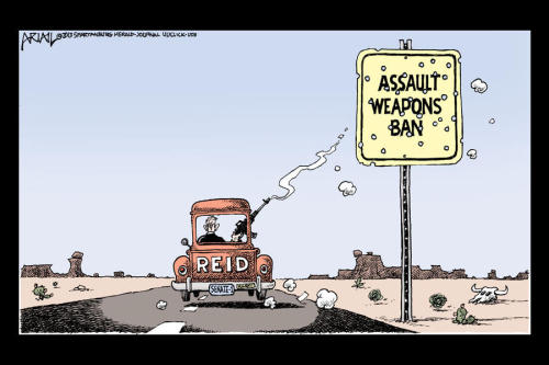 What happened to the assault weapons ban?  Cartoon by Robert Ariail