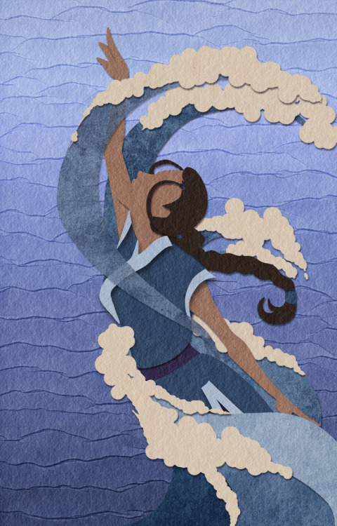 neffinesse:  Trying the faux-papercut thing, and Katara is the perfect subject forever. So yes. I think it looks pretty okay!