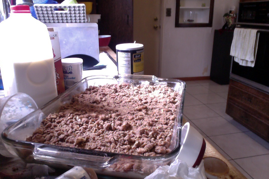 Coffee cake phase 2. Caution during this phase everything gets really messy. Like freaking everything. I had to change my clothes.