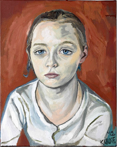 "Jemima Kirke'spainting, a portrait called ""Teddy,"" is going on sale at Christie's this Friday for an estimated $6,000 to $8,000. [source: Refinery 29]"