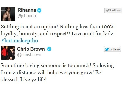 According to PerezHilton.com tweets sent from Rihanna and Chris Brown early Tuesday morning explain their incompatibility and their most recent break-up.