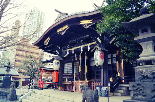 ileftmyheartintokyo:  Shrine at Shinjuku Chuo Central Park by plenty of flour on Flickr.