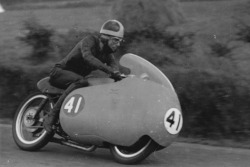 Moto Guzzi 350cc dohc Works Racer & Bill Lomas - Ulster Motorcycle Racing Photo