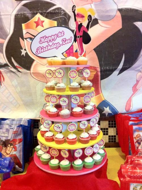 A lovely Supergirl themed decorated cupcake tower! Thank you Donna for your order! :)