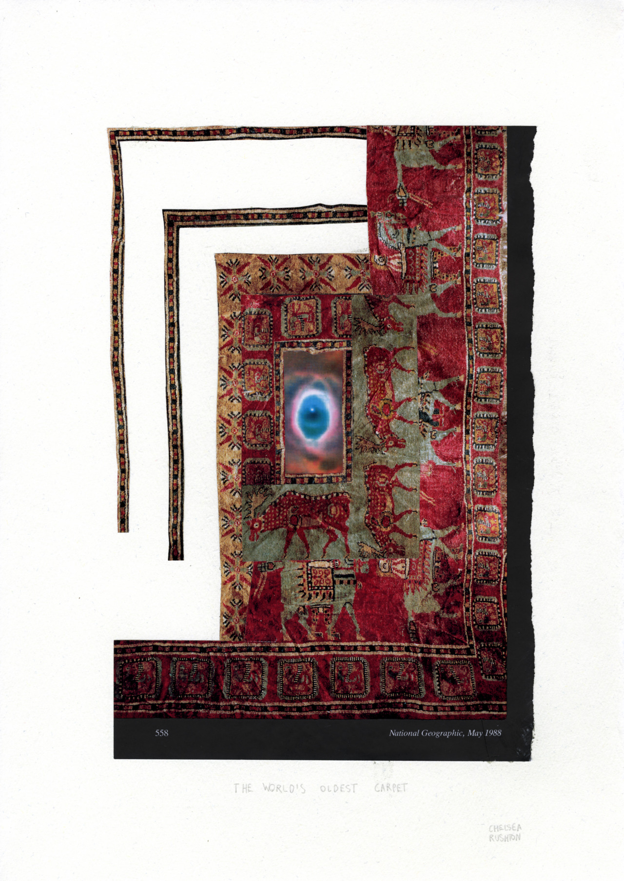 "The World's Oldest Carpetcollage on paper14""x10""2013"