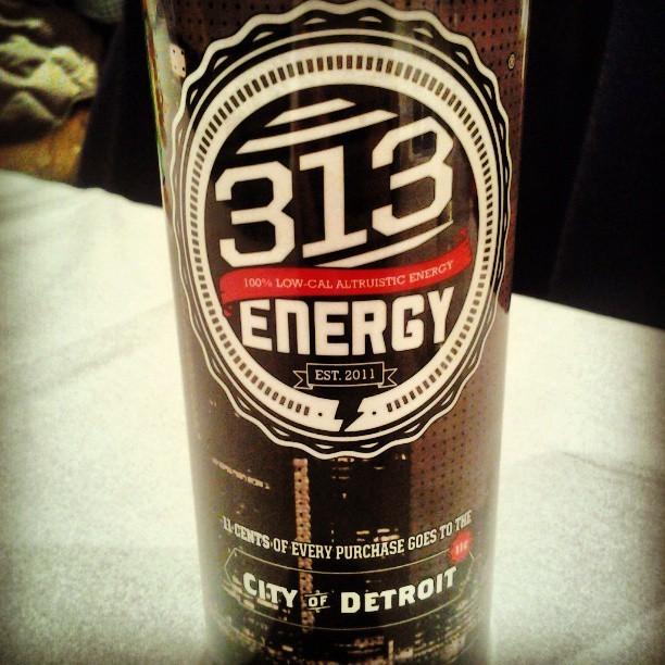 313 Energy drinks. 11 cents of each can goes to the City of Detroit!