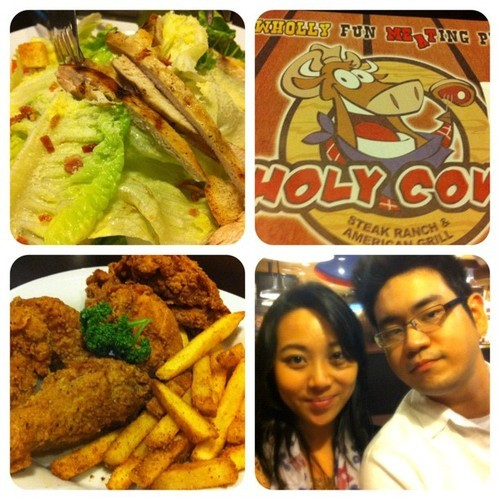 #picstitch #dinner #2nd #holycow #salad #chixnfries #steaks  (at Holy Cow Steak Ranch)