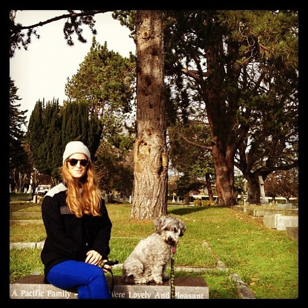 Paige cruising through the cemetery in her Muttonhead Field Jacket with Ligar the silly mutt. Big deals to take advantage of in the webshop kids!
