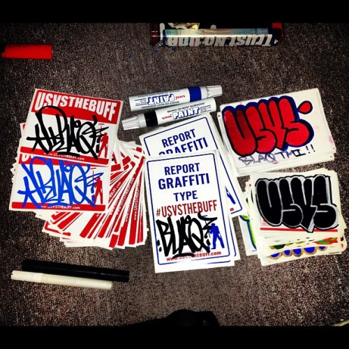 Thanks @usvsthebuff !!  #usvsthebuff #slaps #stickers #unipaint #goingpostal