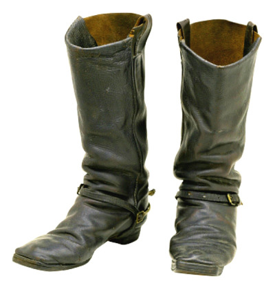 "thecivilwarparlor:  Boots of Sergeant Charles Darling (leather), American School, (19th century) / Private Collection / Photo © Civil War Archive / The Bridgeman Art Library Unfortunately during the American Civil War (1861-1865) unscrupulous contractors supplied below par footwear and many of the cavalry boots were mass produced using reinforced cardboard. Climatic conditions took their toll and the soldiers suffered deep cuts to their feet. The English language was enriched with the word ""shoddy"" which described manufacturers willing to compromise quality for profit. Many experts believe the final victory was in no small part due to the superior footwear of the Union army. The post on boots from ""Bootmen's Tutorial"" in its original context. http://www.hotboots.com/bootinfo/cavalry.html       (via TumbleOn)"