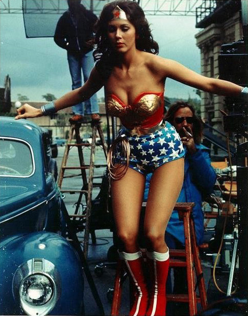 Lynda Carter on the set of Wonder Woman, 1970s