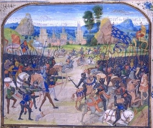Battle of Poitiers (miniature of Froissart) @credits  The Battle of Poitiers was a major battle of the Hundred Years' War between England and France. The battle occurred on 19 September 1356 near Poitiers, France. Preceded by the Battle of Crécy in 1346, and followed by the Battle of Agincourt in 1415, it was the second of the three great English victories of the war.