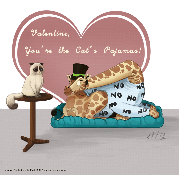 Happy Valentine's D—-NO!! (Grumpy cat and imguraffe Valentine's Day card) www.KristenIsFullOfSurprises.com