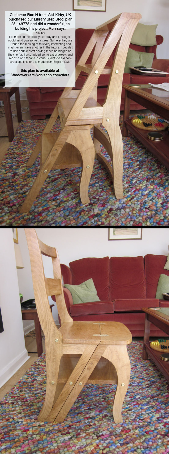 woodworkersworkshop:  Hi Jim, I completed the chair yesterday and I thought I would send you some pictures. So here they are. I found the making of this very interesting and might even make another in the future. I decided to use double pivot sewing machine hinges as they lie flat. I also added some extra dowels and mortise and tenons in various joints to aid construction. This one is made from English Oak. Cheers, Ron H  Following all sorts of new stuff tonight