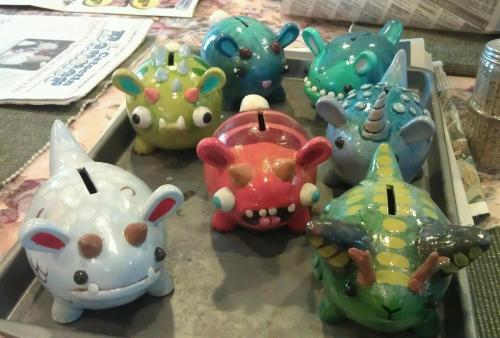 Finished the first batch of monster money banks! I'll try to get some good single shots of them up sometimes soon.
