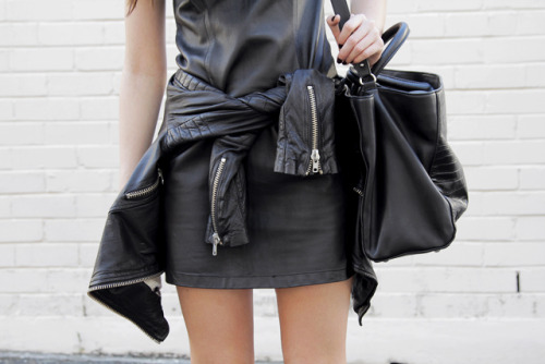 leather on leather. Maison Scotch leather jacket , Natasha Gan leather dress, Zara bag [source: thechronicleofher]