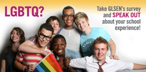 The 2013 National School Climate Survey is GLSEN's eighth national survey of lesbian, gay, bisexual and transgender youth. It is a crucial tool in GLSEN's mission for fighting anti-LGBT bias in K-12 schools across the nation. The information gathered from this survey will help GLSEN to inform education policymakers and the public about the right of all students to be treated with respect in their schools. Many students in the past have also used the survey information to advocate with their teachers and principals for safer schools for LGBT students. You can help GLSEN (the Gay, Lesbian and Straight Education Network) inform education policymakers and the public about what's really going on in our nation's schools by completing the 2013 National School Climate Survey. If you attended high school or middle school sometime during the last school year (2012-2013), identify as lesbian, gay, bisexual, transgender, queer or questioning, and are at least 13 years old, tell us about your experiences in school. (If you did not complete the entire school year you can still participate in the survey.) The survey is completely anonymous. The survey asks questions about your experiences in school, including hearing homophobic remarks, being harassed because of your sexual orientation and/or how you express your gender and how supportive your school is of LGBT students.  To take the survey, click here.
