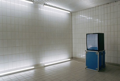 faustarp:  Moritz Hirsch - Ortung 2, 2009. Monitor, case, tiled room, video 720 x 576 px, loop.