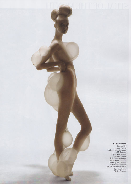 junya-wannabe:  highonflowers:  caroline trentini by nick knight  Who cares who the model is give the designers credit this is LucyandBart by Lucy McRae and Bart Hess shot by Nick Knight