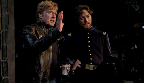 Robert Redford and James McAvoy on-set of The Conspirator (2010)