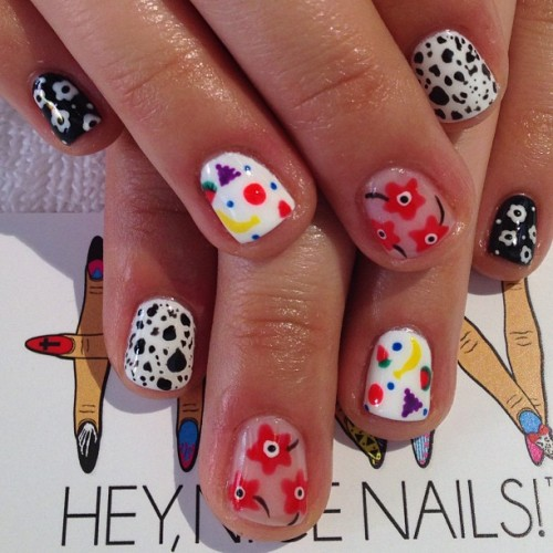heynicenails:  Mix and match birthday #gel #nailart for our new client Zoe #nicenailsfornicepeople #longbeach  (at Hey, Nice Nails!)