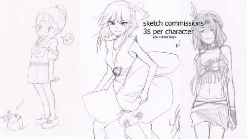 melonrific:  hey guys! I'm taking 3$ sketch commissions because my drawing tablet is basically dead and I need a new one desperately… if you're interested, message me or note me on dA! paypal only. any proceeds help so much! oh, there is even an option for me to send your sketch to  you through mail.   T_T thank you for even reading! <3  lina's commissions are way too cheap but you should all buy some to help her get a new tablet!! QuQ