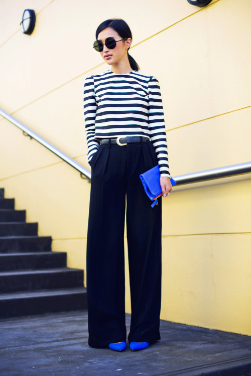 Some of the season's most popular: bold stripes, bright pumps and a foldover clutch.