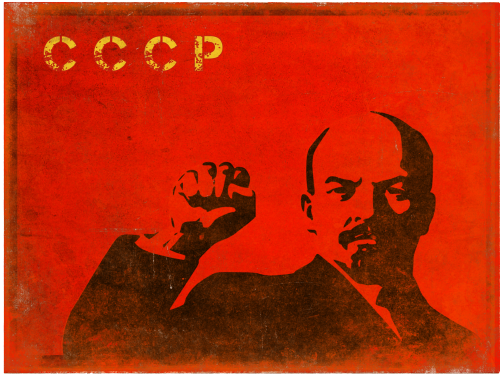 Retro postcard with distressed print of Lenin raising his fist for the old political ideals in the old USSR or, as this Soviet-Union print says, CCCP …
