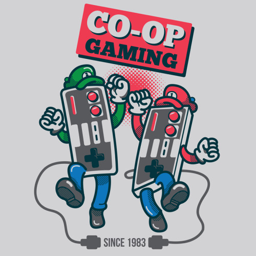 This great T-shirt design, 'Co-op Gaming' by adamworks a.k.a MeleeNinja, is available to buy now over at the artist's RedBubble store and you can also buy prints of the design over at society6.com/MeleeNinja!