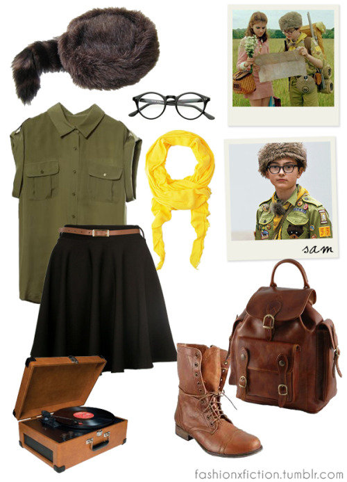 Fashion inspired by Sam Shakusky from Moonrise Kingdom (2012). A pair of young lovers flee their New England town, which causes a local search party to fan out and find them. http://www.imdb.com/title/tt1748122
