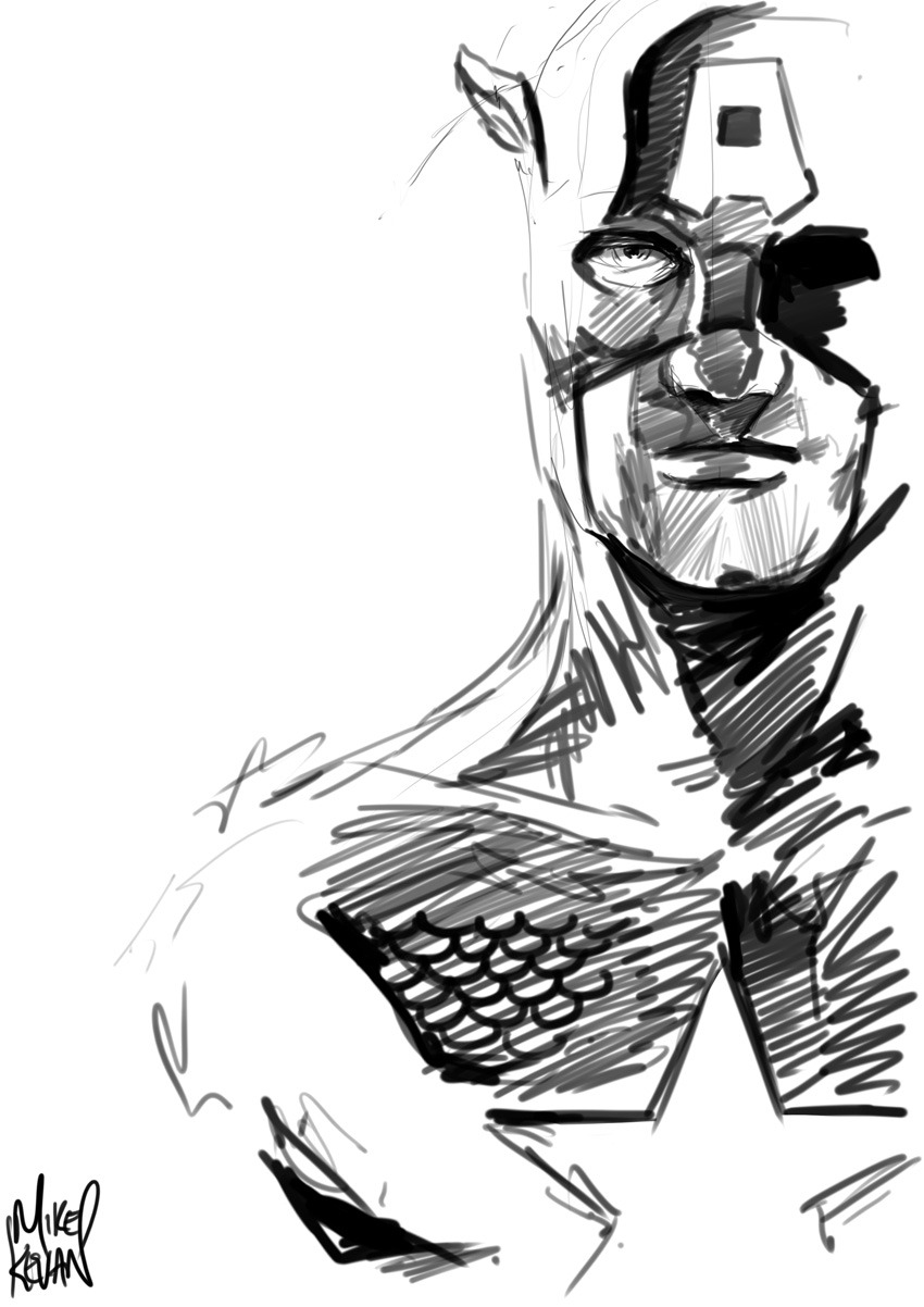 curiousintent:  Quick cap sketch