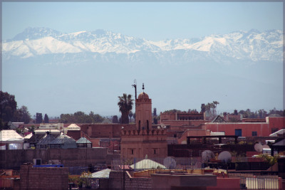 From roof tops of Jemaa El Fna main square in Marrakech, Morocco